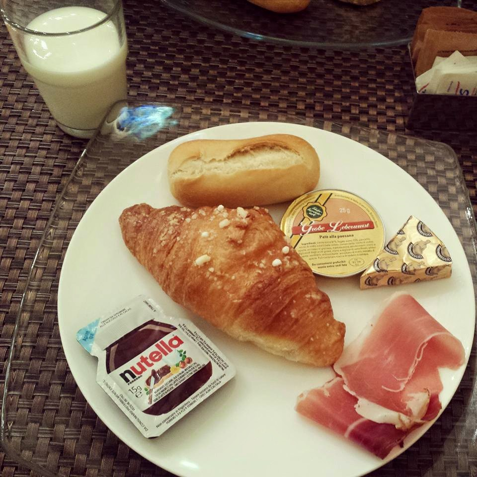 Italian breakfast. For my next course, I had a more American style breakfast of eggs and bacon.