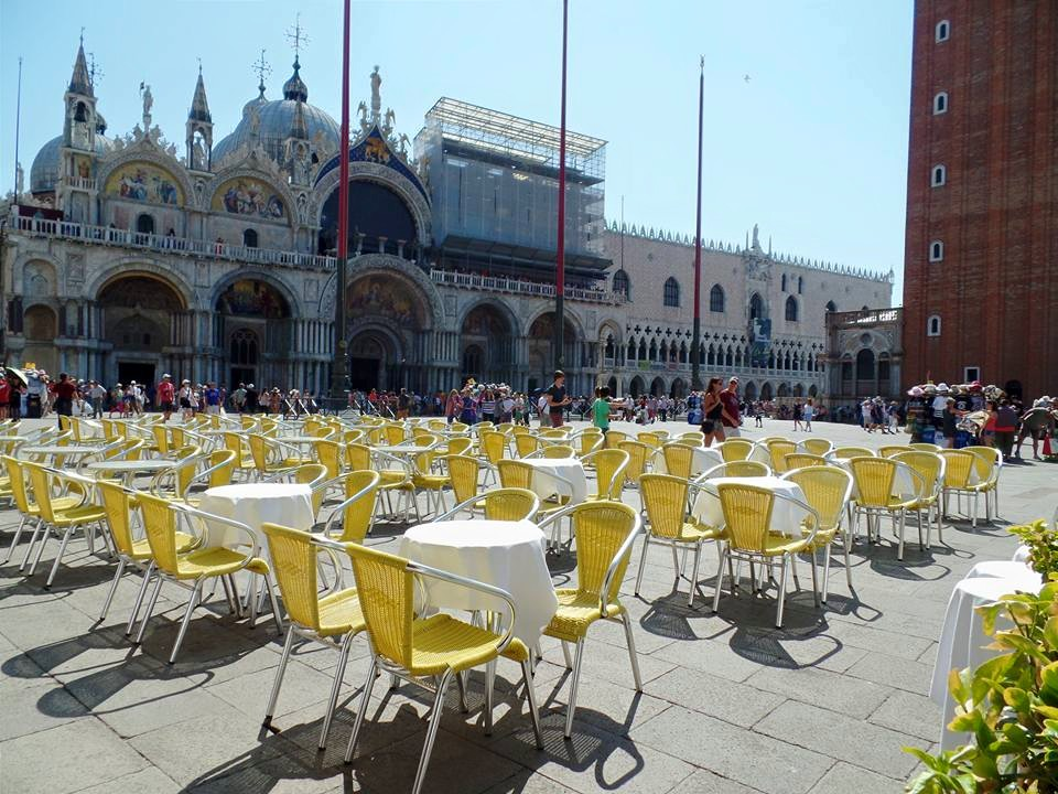 Too hot to enjoy the cafe seating in St. Mark's Square