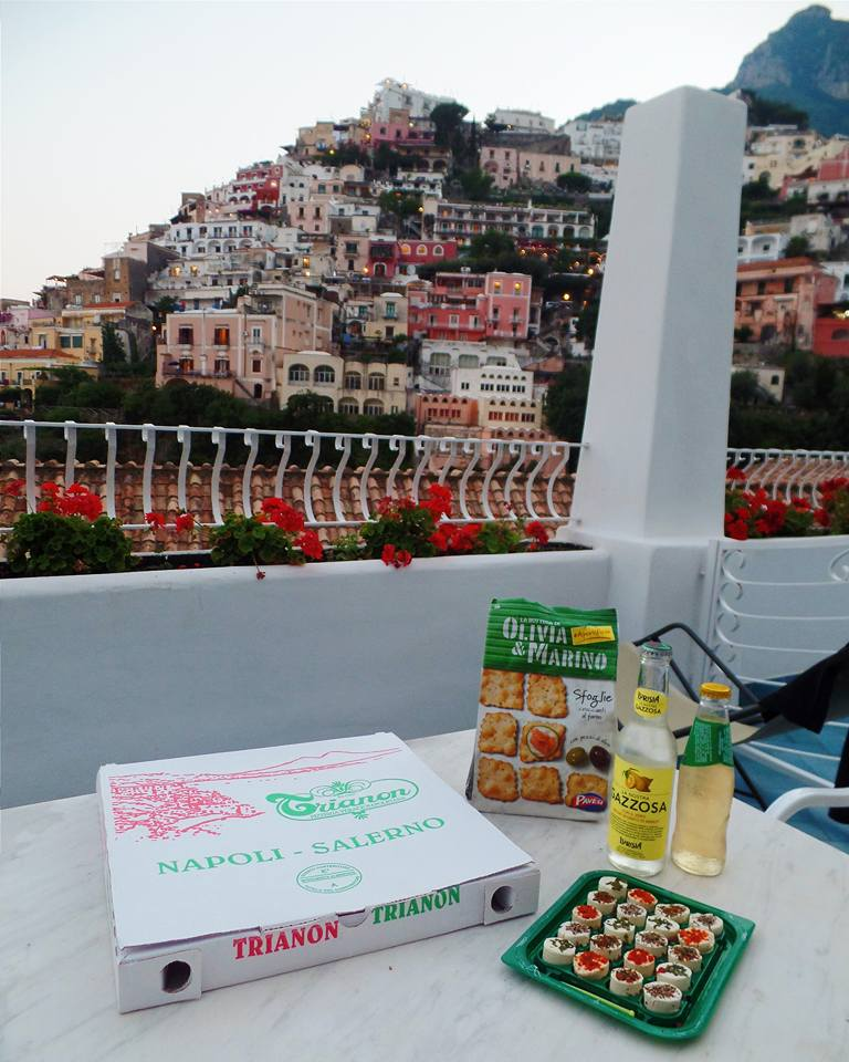Our first dinner on our balcony included our pizza leftovers all the way from Naples!