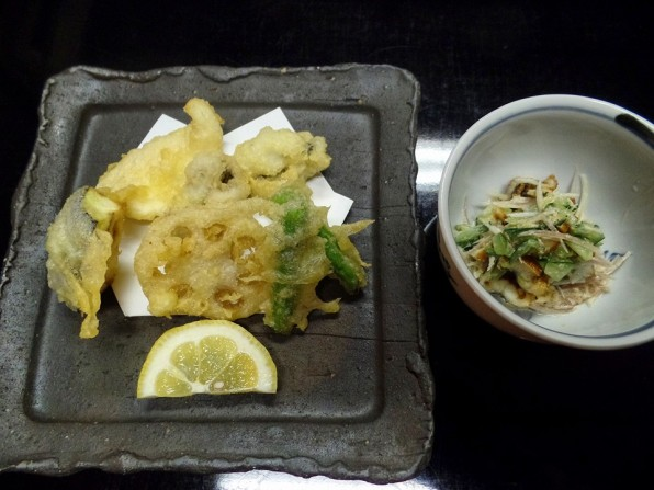 Tempura fish, lotus root, eggplant, and peppers, with a side of unagi coleslaw